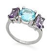 Серебряное кольцо с самоцветами: топазы и аметисты SL-02170-416 весом 4.16 г  стоимостью 2500 р.