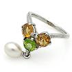 Серебряное кольцо с самоцветами: цитрин, хризолит и жемчуг SL-02228-417 весом 4.17 г