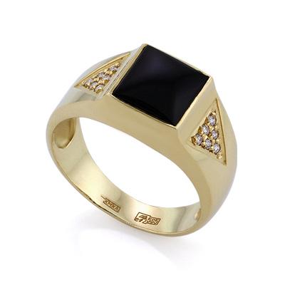 Золотое кольцо с бриллиантами и агатом цена - 41400 рублей. Золотые перстни для мужчин