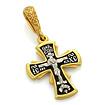 Серебряный нательный крестик с позолотой