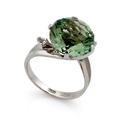 Кольцо с зеленым аметистом и бесцветными топазами 4.3 г SL-2112-419